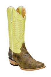 "lime mint Bison Leather No matter what attire you're wearing, simply team it up with this serene boots for a truly fashionable outlook. Made of bison skin, no need to worry about its longevity. Modeled with D-toe. Brown toned vamp contrasts the lime mint shaft. Lather Piping measures a height of about 13"" inches. Well Gripped outsole. Never stress your foot, since enriched with cushioned foot bed. Pull up straps are included for an easy pull-on"