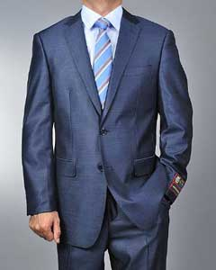 2 Button Metallic Shiny Ocean Blue Slim Suit