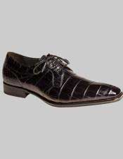 Mezlan World Best Alligator ~ Gator Skin Authentic Dark Blue Oxford Lace Up Shoes Luciano Authentic Mezlan