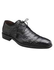Mens Mezlan Handmade Black Classy Style Crocodile Lace Up Shoes Authentic Mezlan Brand