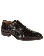 SKU#GD327 Mens Mezlan Double Strap Crocodile Black Handmade Shoes Authentic Mezlan