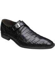 Mens Mezlan Handmade Black Unique Monk Style Strap Genuine Crocodile Shoes