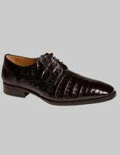 Mens Mezlan Black Crocodile Oxford Style Leather Lined Shoes Authentic Mezlan