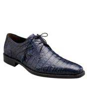 Mezlan Blue Authentic Crocodile Lace Up Italian Style Shoes Authentic Mezlan Brand