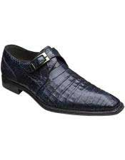 Mezlan Blue Monk Inspired Style Authentic Crocodile Leather Shoes Authentic Mezlan Brand