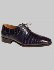 Mezlan Spain Blue Color Genuine Crocodile Lace Up Oxford Shoes Authentic Mezlan Brand
