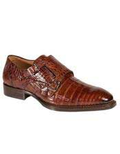 Mezlan Double Buckle Crocodile Sport Brown Leather sole Shoes Authentic Mezlan Brand