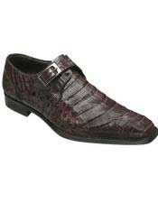 Mezlan Monk Strap Brown Designer Side Buckle Crocodile Leather Shoes Authentic Mezlan Brand