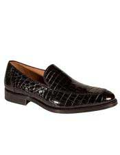 Mens Mezlan Platinum Black Genuine World Best Alligator ~ Gator Skin Loafers Leather Budapest Shoes Authentic Mezlan