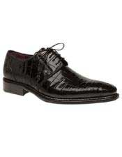 Mens Mezlan Platinum Genuine Black World Best Alligator ~ Gator Skin Lace Up Shoes Marini Authentic Mezlan