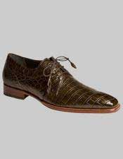Mezlan Spain World Best Alligator ~ Gator Skin Olive Green Hand Made Lace Up Shoes Luciano Authentic