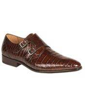 Mezlan Sport Brown Real World Best Alligator ~ Gator Skin Double Buckle Leather Sole Shoe Agra Authentic