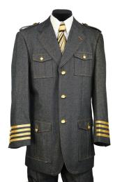 Mens Military Style Tri-Stripe Zoot Suit Black