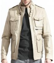 Military Inspired Leather Field Jacket With A Slim Cut Body