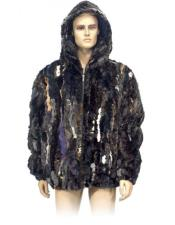 Mens Fur Multi-Color Genuine Pieces Mink Pull Up Zipper Jacket