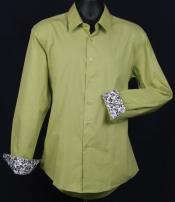 Fancy Slim Fit Dress Shirt - Cuff Pattern - lime mint