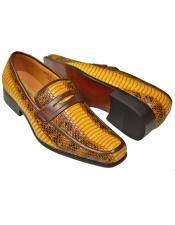 Yellow/Black Python Snake Print Moc Toe Penny Synthetic Loafer & Slip Ons