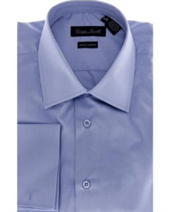 Modern-Fit Solid Blue Mens Dress Shirt