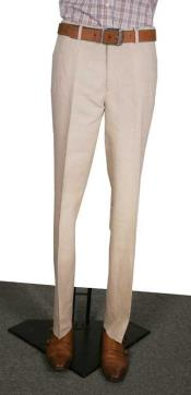 Mens Modern Fit Flat Front Mens Tapered Mens Dress Pants Natural