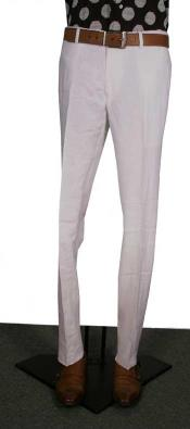 Modern Fit Flat Front Pants White