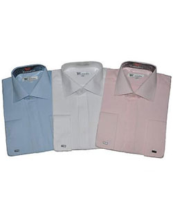 Cotton Blend Striped Dress Shirt Spread Collar French Cuff Classic Fit Multi-Color