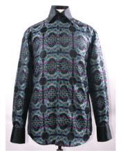 Mens Multi Color High Collar Fancy Pattern Shiny Shirt