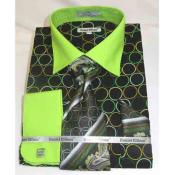 Circle Multi Pattern Black Green Cotton French Cuff Mens Dress Shirt
