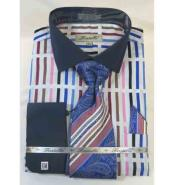 Mens Bold Stripe Multi Pattern 100% Cotton French Cuff Blue Multi Dress Shirt