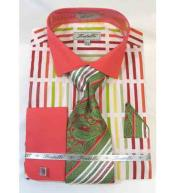 Mens Bold Stripe Multi Pattern Coral Multi Cotton French Cuff Dress Shirt Salmon ~  Melon ~