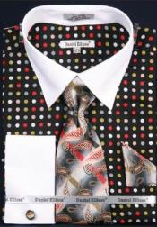 Hanky Set Multi Polka Dot Fashion Shirt /Tie / White Collar Two Toned Black/Green Contrast With Free Cufflinks