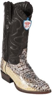 West Natural J-Toe caiman ~ World Best Alligator ~ Gator Skin Hornback Cowboy Boots