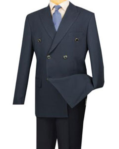 Mens Dark Navy 6 Button Mens Double Breasted Suits Jacket Blazer - Dark Blue Suit Color -
