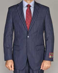 Side Vented Jacket & Flat Front Pants Chalk Bold Stripe Pinstripe New Navy Blue ( Indigo ~