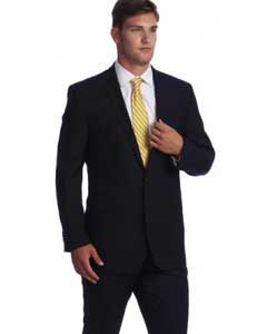 Dark Navy Blue Bone Stripe ~ Pinstripe 2-button Wool affordable Cheap Business Suits Clearance Sale online sale
