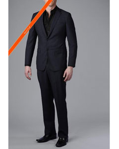 Dark Navy Blue Suit For Men Beaded Stripe ~ Pinstripe 2-Button Slim Fitted Suit
