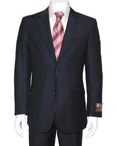 Dark Navy Blue Suit For Men Stripe ~ Pinstripe 2-button Suit