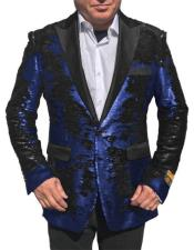 Fashion Alberto Nardoni Shiny Sequin Tuxedo Black Lapel paisley look sport jacket