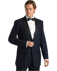 Navy Blue Deville Tuxedo with Contrasting Notch Lapel
