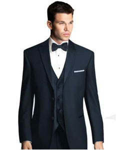 Midnight Navy Blue Tuxedo with Satin Framed Lapel