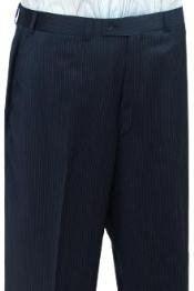 Cotton Summer Light Weight Navy Blue Stripe CK Flat Front Pant