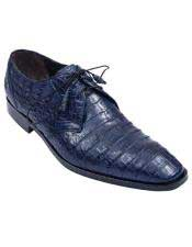 Los Altos Boots  Genuine Crocodile Caiman Belly Oxfords Navy Blue Dress
