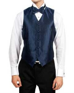 Navy Blue Diamond Print 4-Piece Vest Set Also available in Big and Tall Sizes
