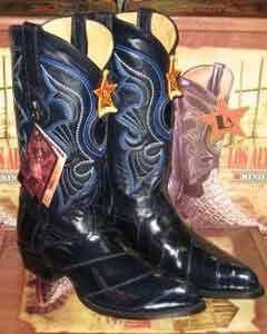 Altos Navy Blue Genuine Eel Western Cowboy Boot ~ botines para