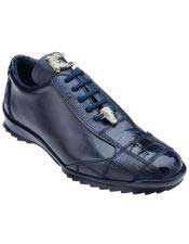 Authentic Genuine Skin Italian Ostrich / Soft Calfskin Navy Blue Casual Dress Sneaker