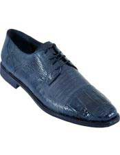 Navy Blue Oxfords Style Los Altos Genuine Crocodile Belly And Teju Lizard Dress Shoes