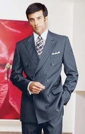 Navy Blue Pinstripe Double
