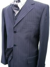 Navy Blue Suit For Men Pinstripe Super 120s Wool Feel Poly~Rayon Cheap