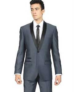 Dark Navy Blue Shawl Collar Slim Fit 2 Piece Tuxedo Suit Black Lapel