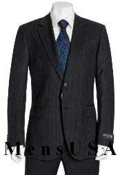 High Quality 2 Button Subtle Muted Conservative Navy Blue Pinstripe Slim Fit Wool Business ~ Wedding 2