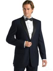 Suit Black Lapeled Midnight Navy Blue Deville Two Button Tuxedo
